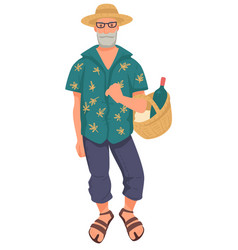 Old man in summer outfit with wicker basket vector