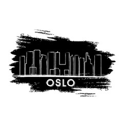 oslo skyline silhouette hand drawn sketch vector image