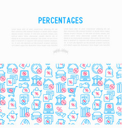 Percentages concept with thin line icon vector