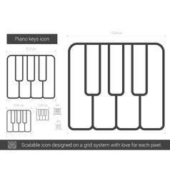 Piano keys line icon vector