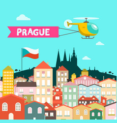 prague city flat design czech republic town vector image