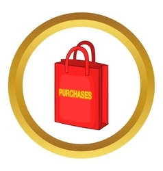 Red bag for shopping icon vector