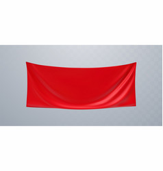 red textile advertising banner mockup vector image