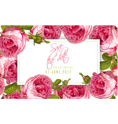 Rose wedding invitation vector