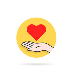 round yellow charity logo with heart in hand vector image