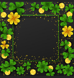 Saint patrick day border with golden shimmergreen vector