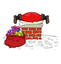 Santa stuck in chimney vector