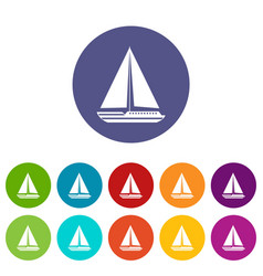 Sea yacht set icons vector