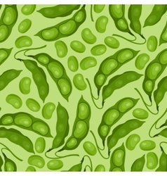 Seamless pattern with fresh ripe bean pods vector