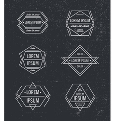 Set geometric line hipster logos icons vector