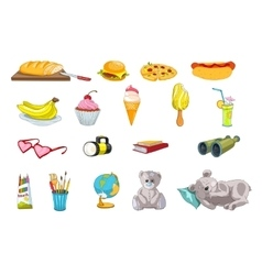 Set of food and kid things vector