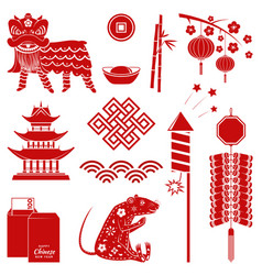 set red chinese new year silhouette icons vector image