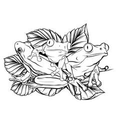 Silhouette frog on leaf design vector