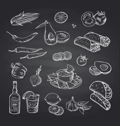 Sketched mexican food elements set on black vector
