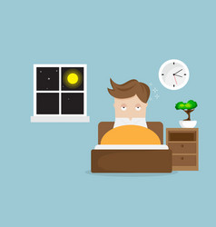 sleepless man cartoon character on bed in night vector image