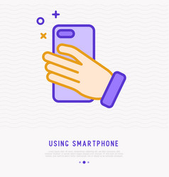 smartphone in hand making photo thin line icon vector image