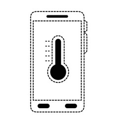 smartphone with thermometer weather application vector image
