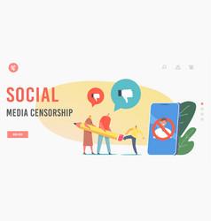 Social media censorship landing page template vector