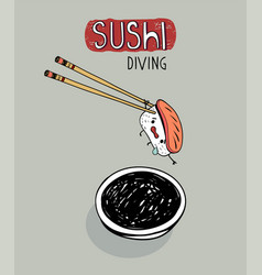 Sushi diving cute cartoon poster vector