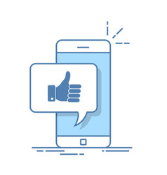 Thumbs up icon with smartphone like message on vector