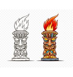 Tiki totem cartoon statue vector