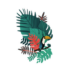 tropical leaf cackatoo parrot cartoon icon vector image
