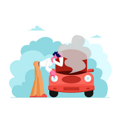 upset male character in road accident with broken vector image