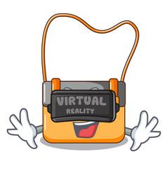 Virtual reality menesseger bag color on a cartoon vector