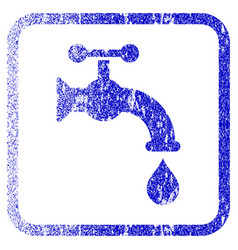 Water tap framed textured icon vector