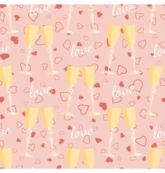 Wedding seamless pattern glasses with champagne vector image