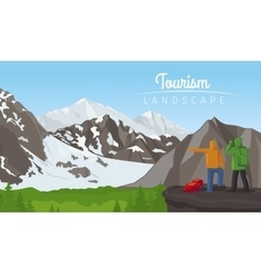 Winter tourism landscape with mountains vector