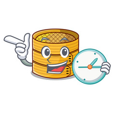 With clock cartoon traditional bamboo for steamed vector
