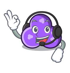 With headphone trefoil mascot cartoon style vector