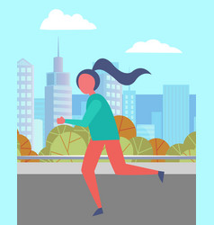 woman running in urban park nice city landscape vector image