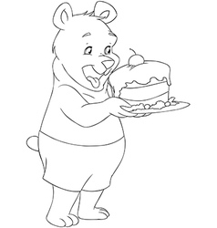 Young Bear Holding A Cake Coloring Page vector image