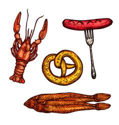 beer snack food sketch of sausage pretzel fish vector image vector image