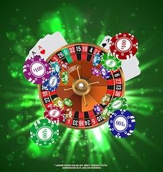 Casino Roulette Playing Cards wtf Falling Chips vector image