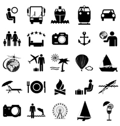 Collection flat icons Travel symbols vector image