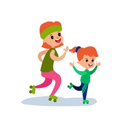 mom and her daughter skating on rollerblades vector image