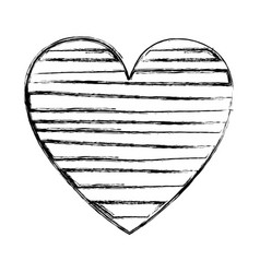blurred silhouette heart with horizontal lines vector image