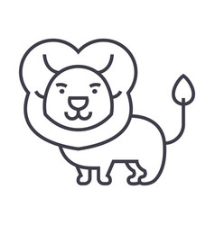 cute lion line icon sign o vector image vector image