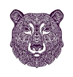 Ethnic ornamented bear hand drawn vector