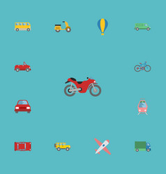 flat icons transport jeep bicycle and other vector image