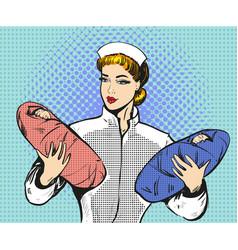 pop art of maternity nurse vector image