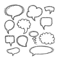 set of hand-drawn speech and thought bubbles vector image