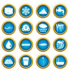 water icons blue circle set vector image