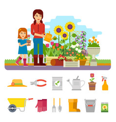 woman gardener plants a flower and takes care of vector image vector image