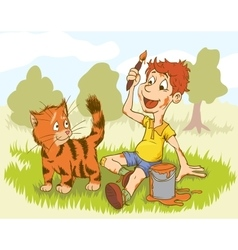 Artist Boy Painting On Red Cat Creative People vector image vector image