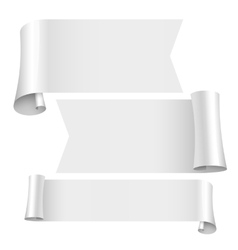 blank scrolls of white paper stickers set vector image
