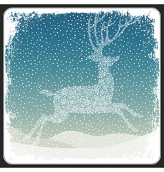 Christmas deer background vintage vector image vector image